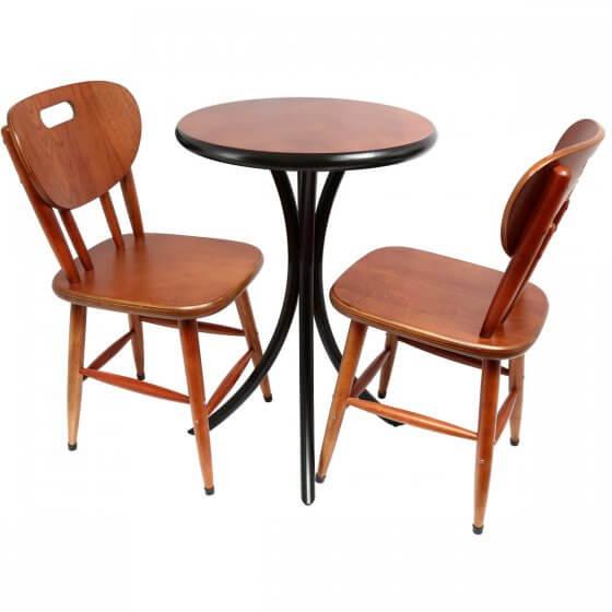Conjunto de Mesa Lateral com 2 cadeiras Tampo Madeira Imbuia 52cm - Tambo