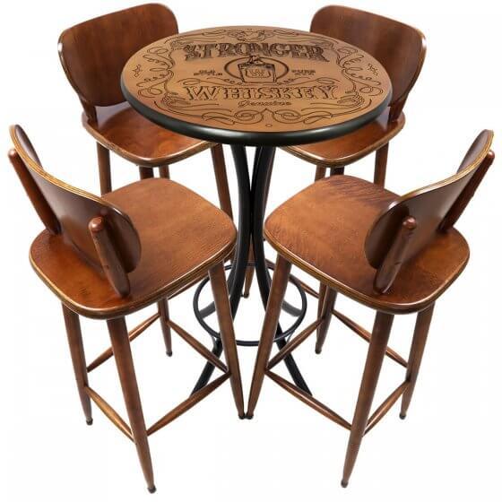 Conjunto de Mesa Alta com 4 Banquetas Stronger Whiskey Imbuia 60cm - Tambo