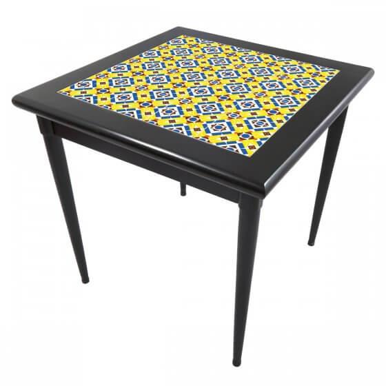 Mesa Mosaico Azulejo Anos Dourados Preto de 80X80cm - Tambo (Default)