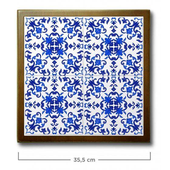 Quadro de Azulejo Portugues 35,5x35,5cm - 4 Azulejos