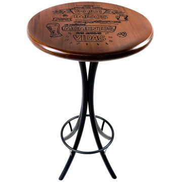 Mesa redonda de madeira para bar alta Familia e amigos - Empório Tambo