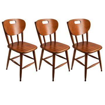 Kit 3 cadeiras para cozinha de madeira - Empório Tambo