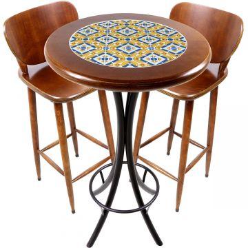 Conjunto de mesa e 2 cadeiras para varanda e sacada Anos Dourados - Empório Tambo