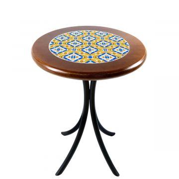 Mesa de canto redonda em azulejo para sala Anos Dourados - Empório Tambo
