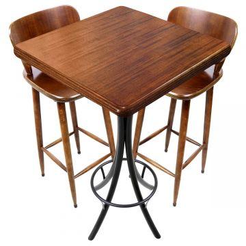 Mesa com cadeiras para varanda pequena Laminado imbuia - Empório Tambo