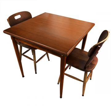 mesa quadrada para cozinha pequena de apartamento com 2 cadeiras Laminado imbuia - Empório Tambo