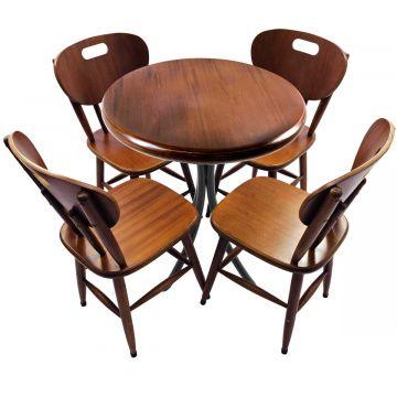 Mesa de madeira com 4 cadeiras Laminado imbuia - Empório Tambo