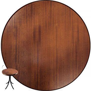 Mesa de canto redonda retro em madeira para sala Laminado imbuia - Empório Tambo