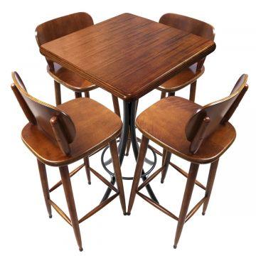 Mesa para sala de jantar 4 banquetas Laminado imbuia - Empório Tambo