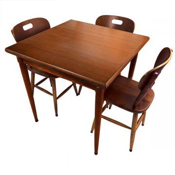 Mesa jantar 80x80 pequena de madeira com 3 cadeiras Laminado imbuia - Empório Tambo