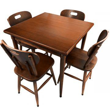 Mesa para lanchonete de madeira maciça com 4 lugares Laminado imbuia - Empório Tambo