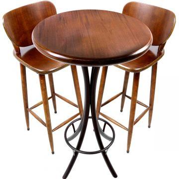 Mesa de barzinho madeira alta redonda com 2 banquetas Laminado imbuia - Empório Tambo