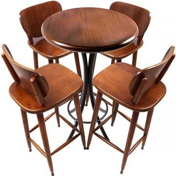 Mesa Pequena com 4 banquetas redonda para cozinha Laminado imbuia - Empório Tambo