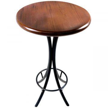 Mesa redonda de madeira para bar alta Laminado imbuia - Empório Tambo