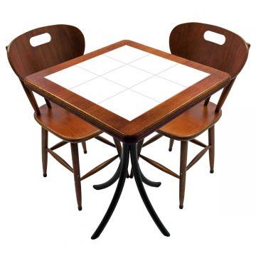Mesa para cozinha pequena com 2 cadeiras Branco - Empório Tambo