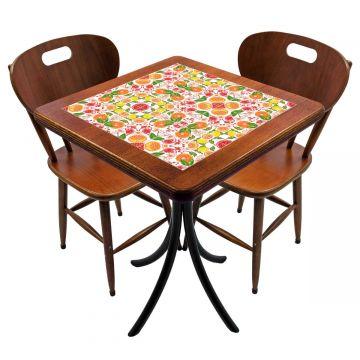 Mesa para cozinha pequena com 2 cadeiras Frutas - Empório Tambo