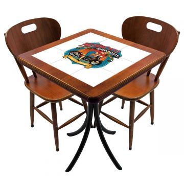 Mesa para cozinha pequena com 2 cadeiras Motorcycle - Empório Tambo