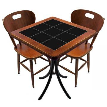 Mesa para cozinha pequena com 2 cadeiras Preto - Empório Tambo