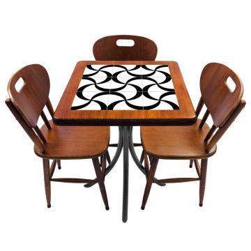 Mesa de canto para quarto com 3 cadeiras de madeira Luar - Empório Tambo