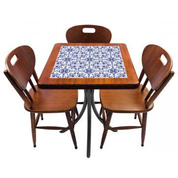 Mesa de canto para quarto com 3 cadeiras de madeira Português - Empório Tambo