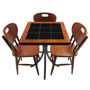 Mesa de canto para quarto com 3 cadeiras de madeira Preto - Empório Tambo
