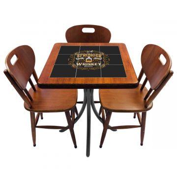 Mesa de canto para quarto com 3 cadeiras de madeira Stronger Whiskey - Empório Tambo