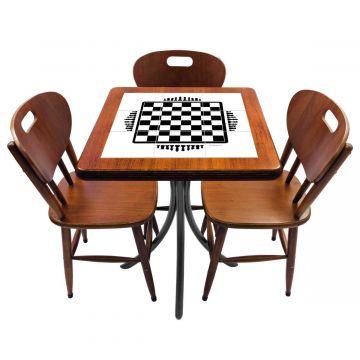 Mesa de canto para quarto com 3 cadeiras de madeira Tabuleiro de Xadrez - Empório Tambo