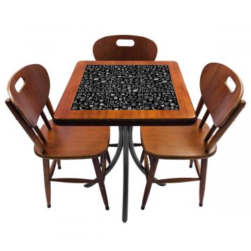 Mesa de canto para quarto com 3 cadeiras de madeira Textura Café - Empório Tambo