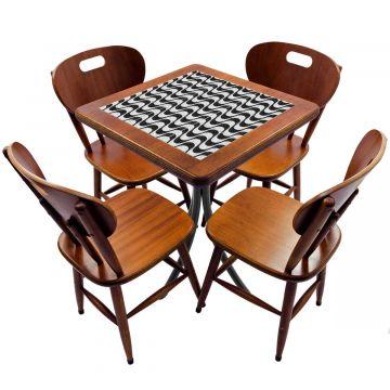 Jogo de Mesa com 4 Cadeiras madeira para lanchonete bar cozinha Copacabana - Empório Tambo