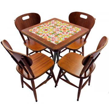 Jogo de Mesa com 4 Cadeiras madeira para lanchonete bar cozinha Frutas - Empório Tambo