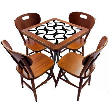 Jogo de Mesa com 4 Cadeiras madeira para lanchonete bar cozinha Luar - Empório Tambo