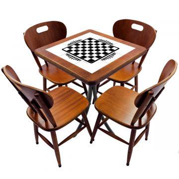 Jogo de Mesa com 4 Cadeiras madeira para lanchonete bar cozinha Tabuleiro de Xadrez - Empório Tambo