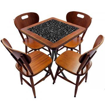 Jogo de Mesa com 4 Cadeiras madeira para lanchonete bar cozinha Textura Café - Empório Tambo