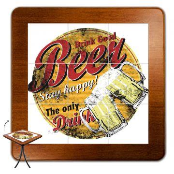 Mesa de canto para quarto com 3 cadeiras de madeira Beer Stay Happy - Empório Tambo