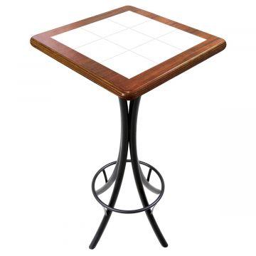 Mesa para varanda gourmet alta quadrada em azulejo Branco - Empório Tambo