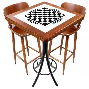 Mesa com 2 cadeiras para cozinha pequena Tabuleiro de Xadrez - Empório Tambo