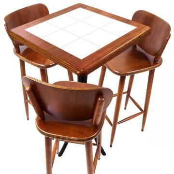 Mesa com 3 Banquetas para Cozinha pequena de apartamento Branco - Empório Tambo