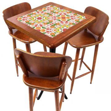 Mesa com 3 Banquetas para Cozinha pequena de apartamento Frutas - Empório Tambo