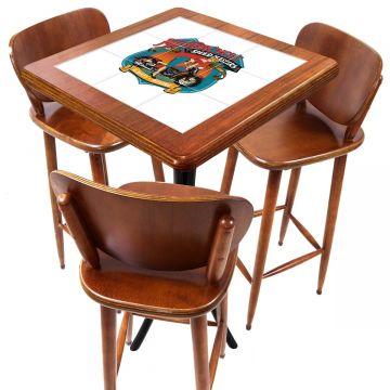 Mesa com 3 Banquetas para Cozinha pequena de apartamento Motorcycle - Empório Tambo