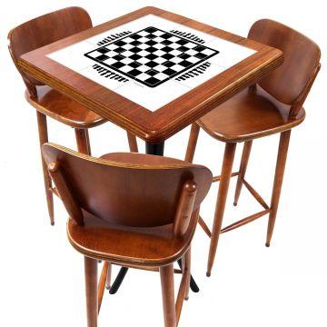 Mesa com 3 Banquetas para Cozinha pequena de apartamento Tabuleiro de Xadrez - Empório Tambo