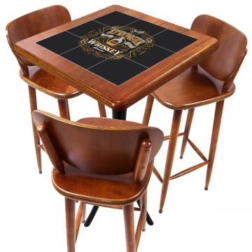 Mesa com 3 Banquetas para Cozinha pequena de apartamento Stronger Whiskey - Empório Tambo