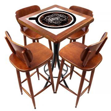 Mesa lanchonete madeira retro vintage com 4 lugares Coffe - Empório Tambo
