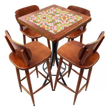 Mesa lanchonete madeira retro vintage com 4 lugares Frutas - Empório Tambo