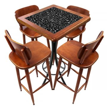 Mesa lanchonete madeira retro vintage com 4 lugares Textura Café - Empório Tambo