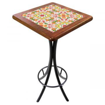 Mesa para varanda gourmet alta quadrada em azulejo Frutas - Empório Tambo