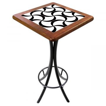 Mesa para varanda gourmet alta quadrada em azulejo Luar - Empório Tambo