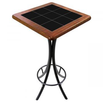Mesa para varanda gourmet alta quadrada em azulejo Preto - Empório Tambo