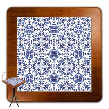 Mesa para varanda gourmet alta quadrada em azulejo Português - Empório Tambo