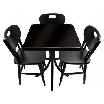 Mesa com cadeiras de madeira Laqueada Preta - Empório Tambo