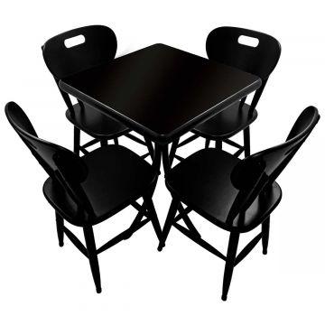 Mesa com 4 cadeiras de madeira Laqueada Preta - Empório Tambo